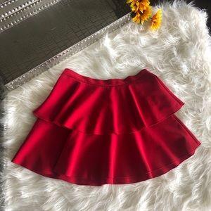 Zara Red Tiered Mini Skirt Size L